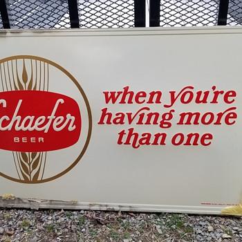Metal Schaefer Beer Sign - Breweriana