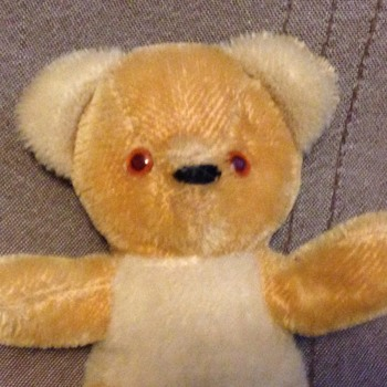 "Yellow Teddy Bear Wool Plush 1950s 60s Pink Glass Eyes probably ""Shanghai Dolls Factory """