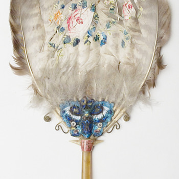 Lovely fixed Feather Fan, Tortoise shell - Asian