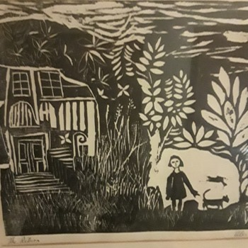 "Woodblock by Alec Cowan, 1963  ""The Return"" - Fine Art"