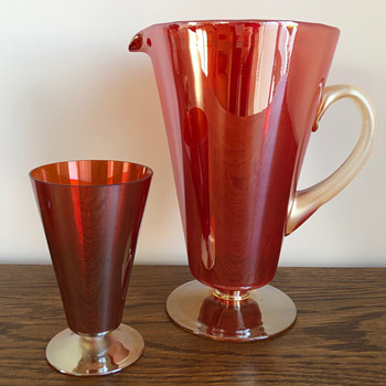 Red and gold goblet and jug set - Glassware