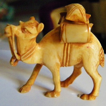 "Vintage Antique Carved Ivory Camel Netsuke 1.75 x 1.60"" Found in Hibachi Drawer - Asian"