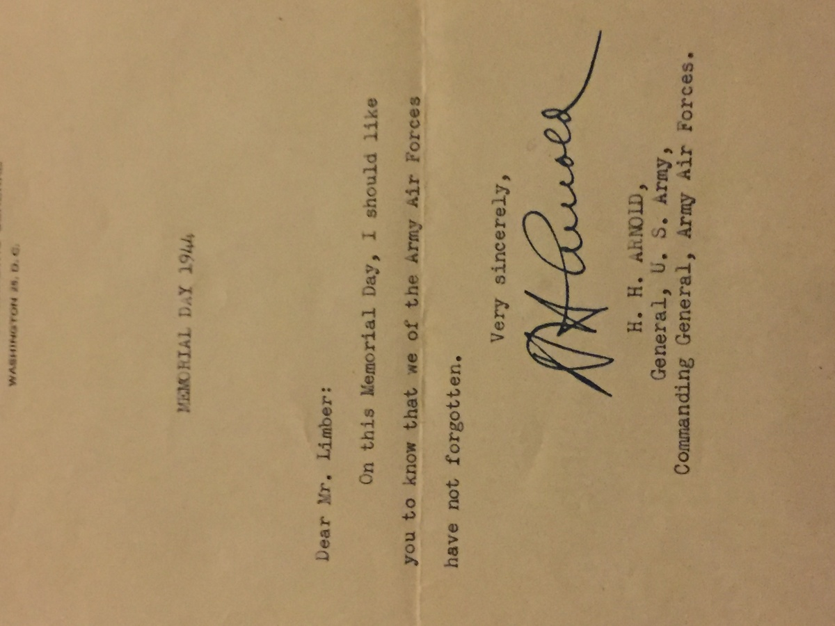Ww Condolence Letter Signed By General HH Arnold On Memorial Day