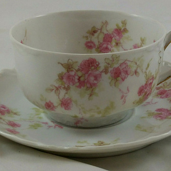 HAVILAND LIMOGES FRANCE FLORAL CUP AND SAUCER - China and Dinnerware