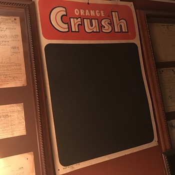 Orange Crush menu board 1950's - Advertising