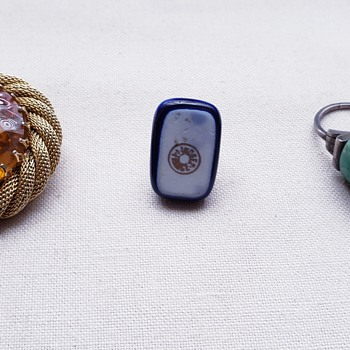 Brooch, Limoges Ring and Unknown Green Ring - Costume Jewelry