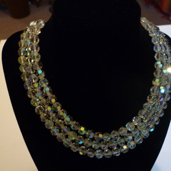 Three stranded Austrian crystal necklace - Costume Jewelry
