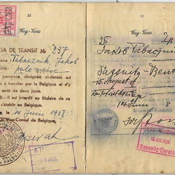 Haifa issued German visa inside a 1938 passport - Paper