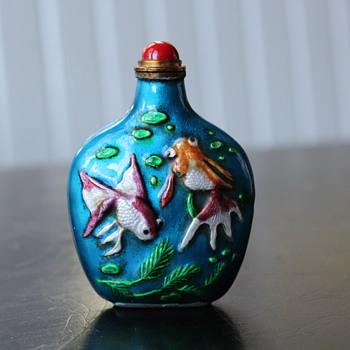 Enamel over Copper Goldfish Snuff Bottle