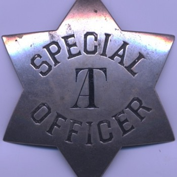 "early 1880's AT&SF Railway Special Officer marked ""AT"" for Arizona Territory  - Railroadiana"
