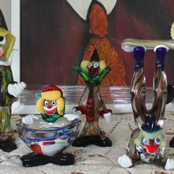 HANDMADE ITALY MURANO VENETIAN GLASS CLOWNS - Art Glass