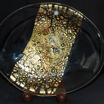 Gold Foil and Spatter Art Glass Dish - Art Glass