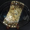 Gold Foil and Spatter Art Glass Dish