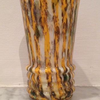 Welz zig-zag orange stripes and mica - Art Glass