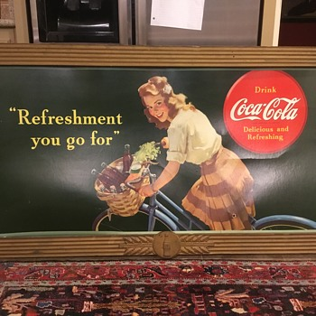 "Coca-Cola cardboard sign ""Refreshment you go for"" with Kay Displays Frame, 1944 - Coca-Cola"