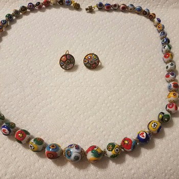 Vintage Millefiori Venetian hand painted glass bead necklace and clip on earring set - unsure if Vintage? - Costume Jewelry