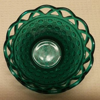 Imperial Glass Stiegel Green Glass Lace Edge Bowel - Glassware