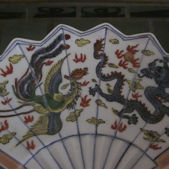 Unique Porcelain Fan Shaped dish  hand Painted Dragon Bird and Dragon - Asian