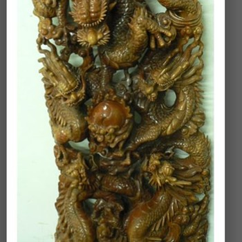 Grand Dragon - relief carved - 5 dragons - Asian