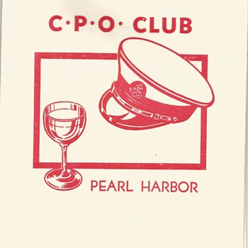 C.P.O. Club Pearl Harbor, Hawaii Dinner Menu 1952