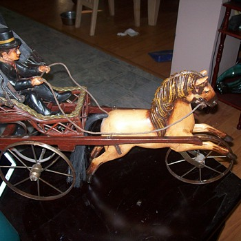 Horse and Buggy with man.  - Animals