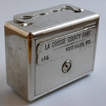 "Promotional Advertising Steel Bank"" La Crosse County Bank, West Salem, Wisconsin""Circa 1920 - Coin Operated"