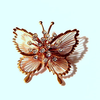 Sweet Monet Butterfly with Rhinestones - Costume Jewelry