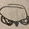 "Unsigned blue rhinestone ""swag"" style necklace"