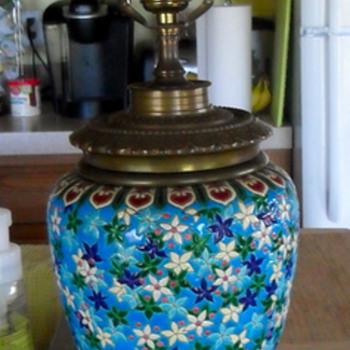 Longwy Faience Enamel & Bronze Lamp - Lamps