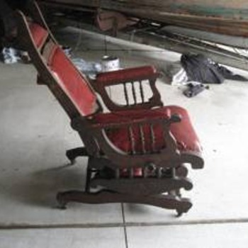 Old 19th century reclining chair with 3 positin foot stool...all one mechanized chair assembly...what is it? - Furniture