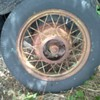 I need information on these old spoke wire wheels we found in a pile of old tires