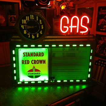 1930's-1940's Neon Sign with Hexagon Neon Cleveland Clock and Neon Gas Letters - Signs
