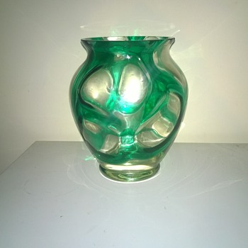 clear vase with overlayed green - Art Glass