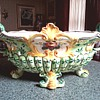 "Majolica Centerpiece Bowl ""Agostinelli dal Pra"" Nove Italy /Hand Painted Floral Rococo Design/ Circa 1920's- 1930's"