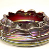 "Czech Art Nouveau ""Pallme Konig"" RED Iridescent Veined Threaded Art Glass Bowl"