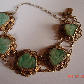 Beautiful Jade Buddha Gold Bracelet & Question About Gold Testing - Asian