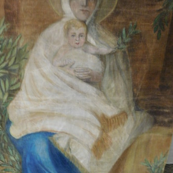 Madonna / Virgin Mary + Baby Jesus / Christ Painting on Textile / Cloth - Fine Art