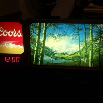 Vintage Coors Sign with digital clock