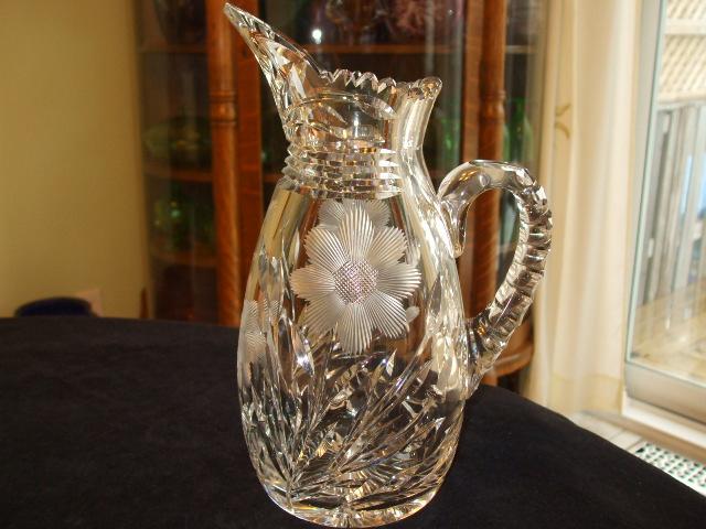 Gowens Kent Company Brilliant Cut Glass Cross Hatched Daisy