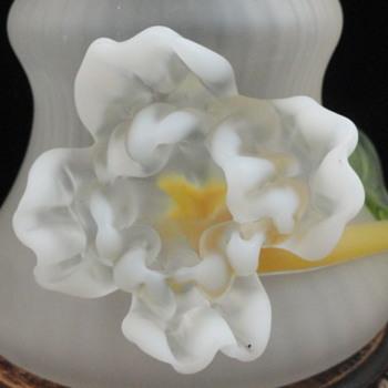Kralik Satin Art Nouveau Vase with Applied Flower - Art Glass