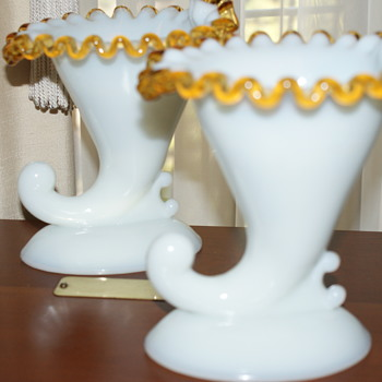 Pair of Fenton Horn of Plenty Gold Crest Candle Holders  - Art Glass