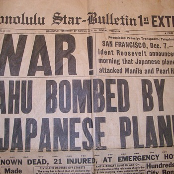 "Pearl Harbor Bombed! ""Honolulu Star Bulletin"" 1st, 2nd, & 3rd Extra - Military and Wartime"