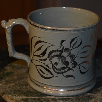 I think my $3 coffee mug is very old. Silver Lustreware? Sunderland? - Pottery