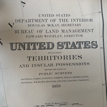 1953 United States Map from Department of Interior and Bureau of Land Management   - Paper