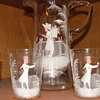 Grandma's Wedding Gift Handpainted Glass Pitcher and 4 cups