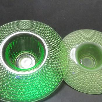 Jobling Uranium Glass Fllying Saucer Vases - 2595 - Glassware