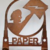 Metal Cut Out w/Stand~PAPER!, with a Newsie holding a paper with a Lightning bolt