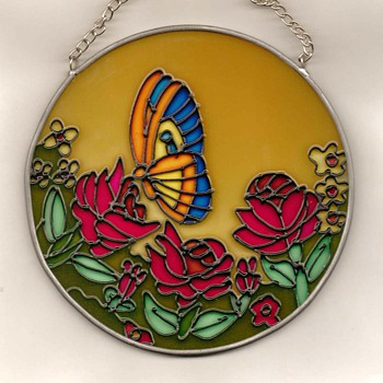 Butterfly & Blossoms Sun-catcher - Art Glass
