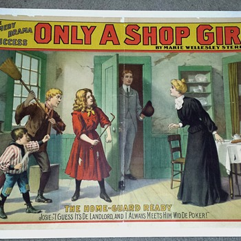 "Original 1902 ""Only A Shop Girl"" Stone Lithograph Poster - Posters and Prints"