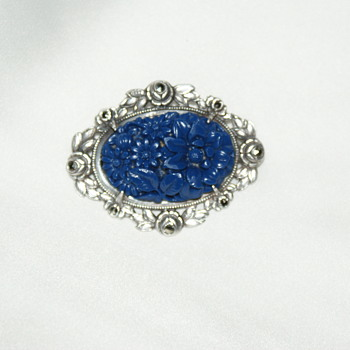 Sterling and Lacquer Brooch - Fine Jewelry